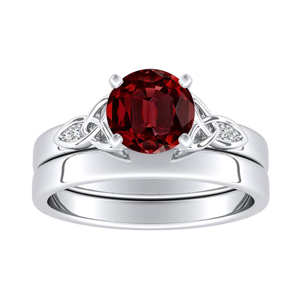 GIOVANNA  Vintage  Ruby  Wedding  Ring  Set  In  14K  White  Gold  With  0.50  Carat  Round  Stone
