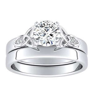 GIOVANNA Vintage Diamond Wedding Ring Set In 14K White Gold With 0.50ct. Round Diamond
