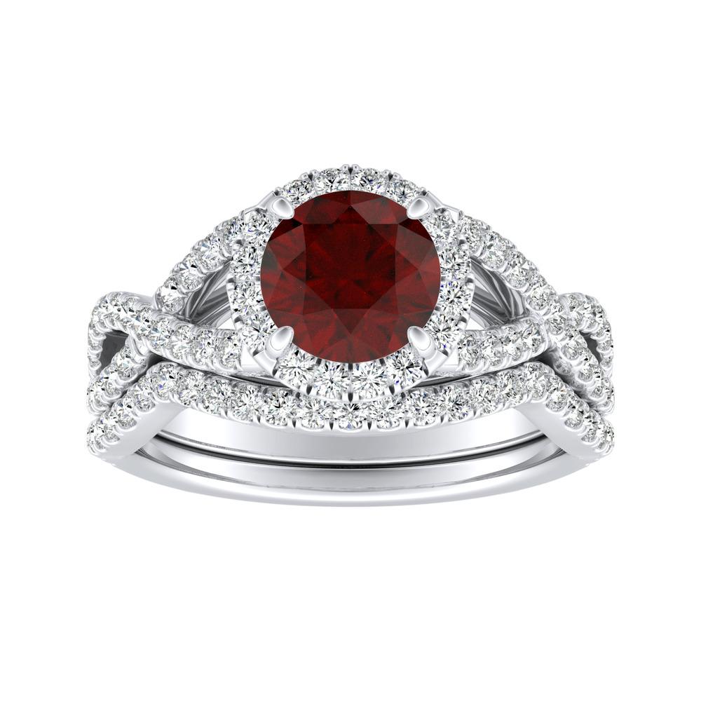 MADISON Modern Ruby Wedding Ring Set In 14K White Gold With 0.50 Carat Round Stone