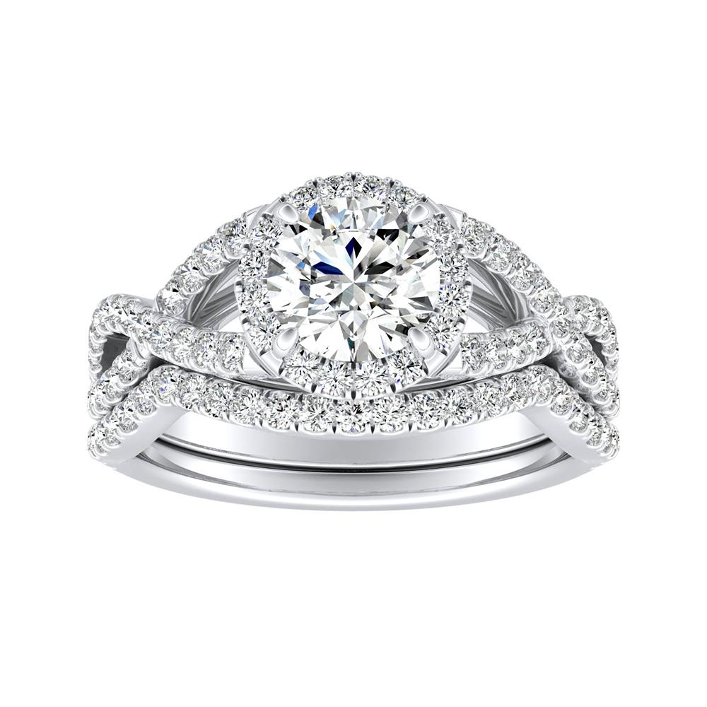 MADISON Modern Diamond Wedding Ring Set In 14K White Gold