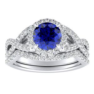 MADISON  Modern  Blue  Sapphire  Wedding  Ring  Set  In  14K  White  Gold  With  0.50  Carat  Round  Stone