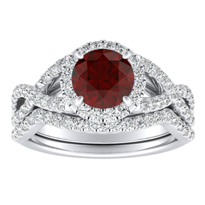 MADISON Modern Ruby Wedding Ring Set In 14K White Gold With 0.50 Carat Round Stone