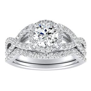 MADISON  Modern  Moissanite  Wedding  Ring  Set  In  14K  White  Gold  With  0.50  Carat  Round  Stone
