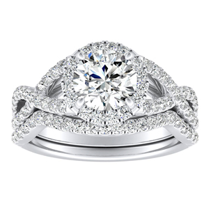 MADISON Modern Diamond Wedding Ring Set In 14K White Gold