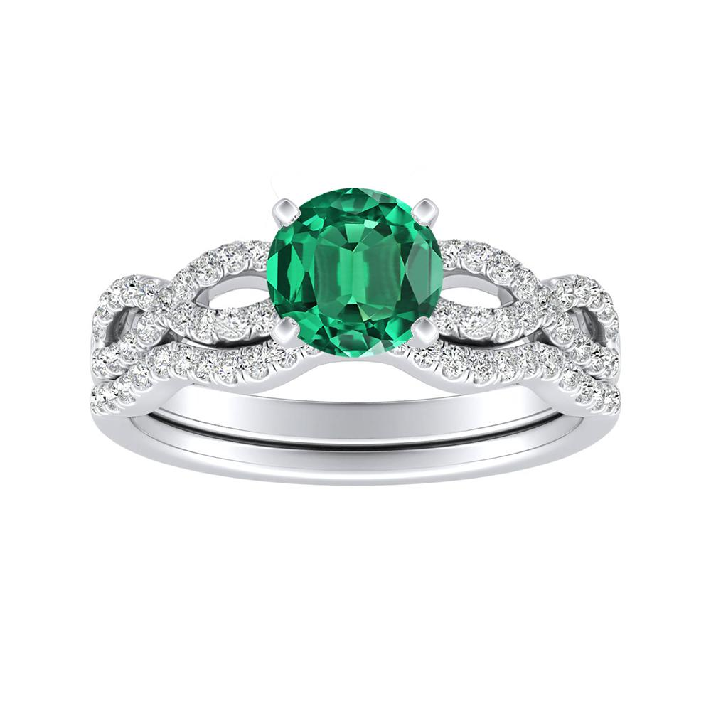 CARINA Green Emerald Wedding Ring Set In 14K White Gold With 0.50 Carat Round Stone