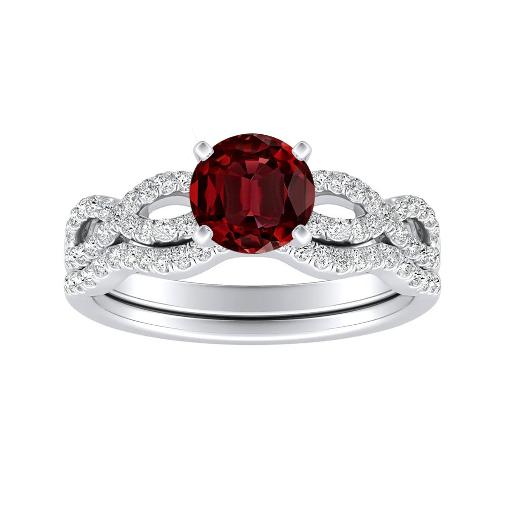 CARINA Ruby Wedding Ring Set In 14K White Gold With 0.50 Carat Round Stone