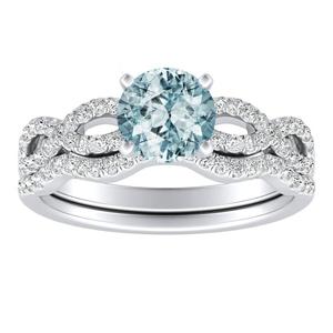 CARINA  Aquamarine  Wedding  Ring  Set  In  14K  White  Gold  With  1.00  Carat  Round  Stone