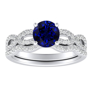 CARINA  Blue  Sapphire  Wedding  Ring  Set  In  14K  White  Gold  With  0.50  Carat  Round  Stone