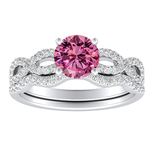 CARINA Pink Sapphire Wedding Ring Set In 14K White Gold With 0.50 Carat Round Stone