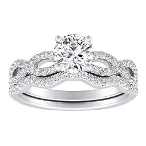 CARINA  Moissanite  Wedding  Ring  Set  In  14K  White  Gold  With  0.50  Carat  Round  Stone