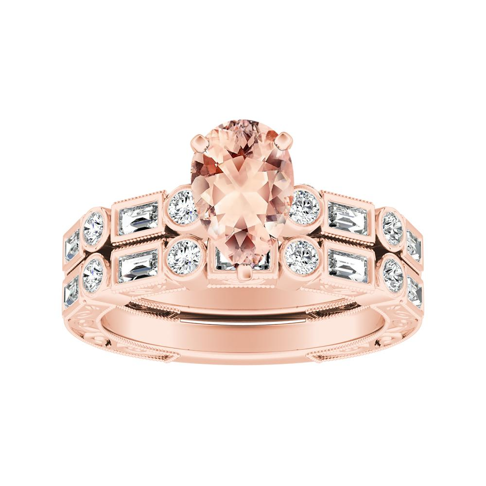 KEIRA Vintage Morganite Wedding Ring Set In 14K Rose Gold With 1.00 Carat Pear Stone