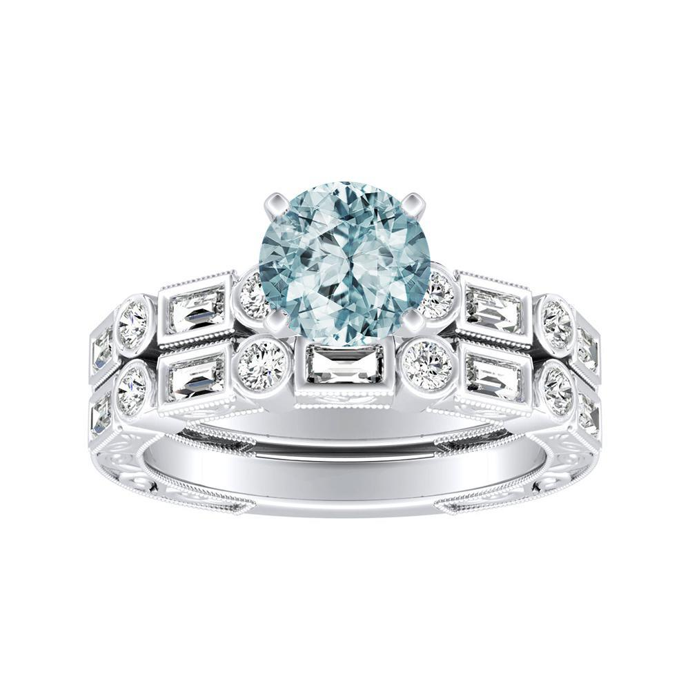 KEIRA Vintage Aquamarine Wedding Ring Set In 14K White Gold With 1.00 Carat Round Stone