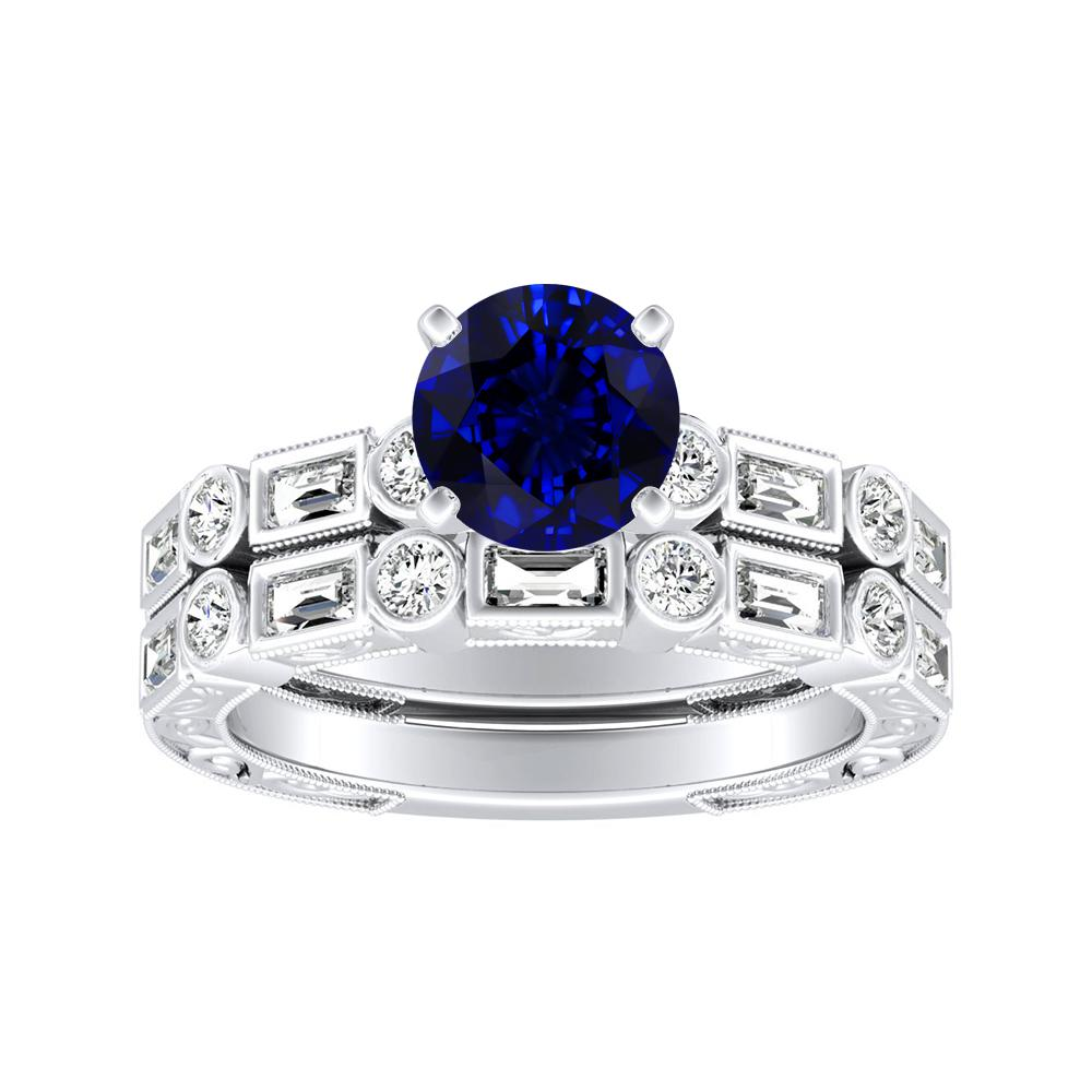 KEIRA Vintage Blue Sapphire Wedding Ring Set In 14K White Gold With 0.50 Carat Round Stone
