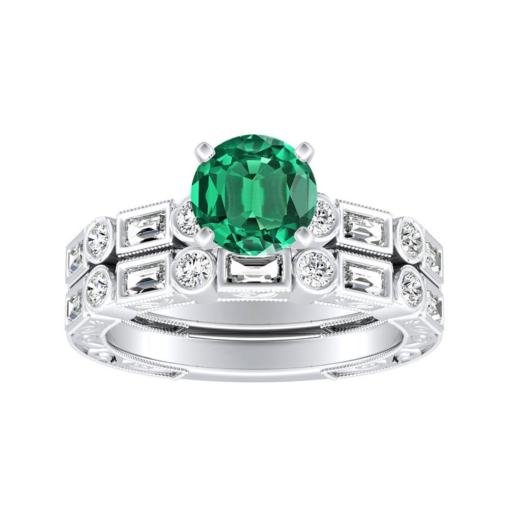 KEIRA Vintage Green Emerald Wedding Ring Set In 14K White Gold With 0.50 Carat Round Stone