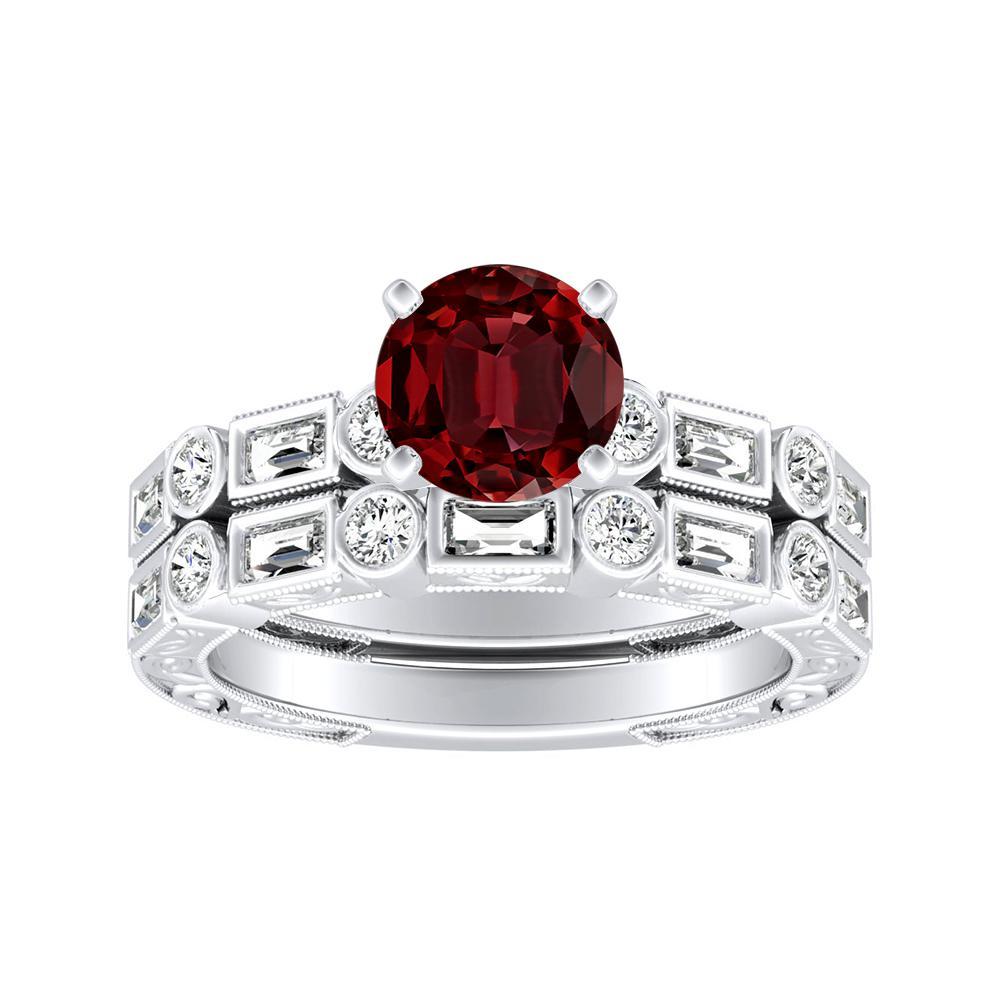KEIRA Vintage Ruby Wedding Ring Set In 14K White Gold With 0.50 Carat Round Stone