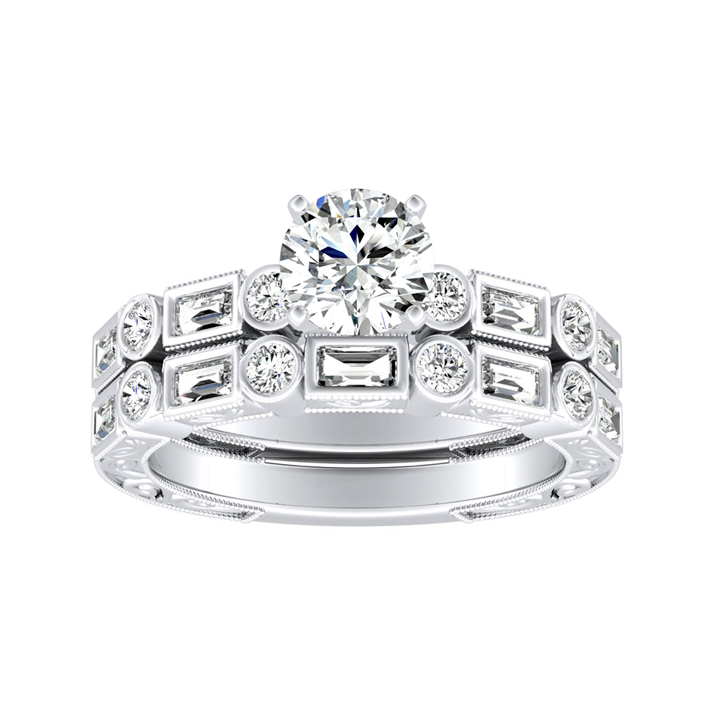 KEIRA Vintage Diamond Wedding Ring Set In 14K White Gold