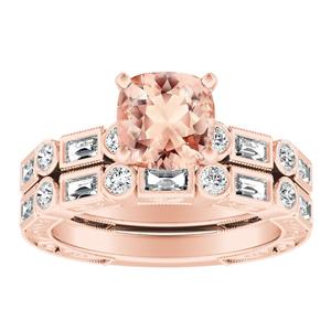 KEIRA Vintage Morganite Wedding Ring Set In 14K Rose Gold With 1.00 Carat Cushion Stone