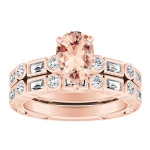 KEIRA Vintage Morganite Wedding Ring Set In 14K Rose Gold With 1.00 Carat Pear Stone