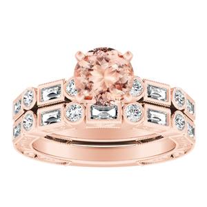KEIRA Vintage Morganite Wedding Ring Set In 14K Rose Gold With 1.00 Carat Round Stone