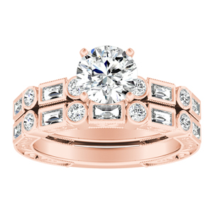 KEIRA  Vintage  Moissanite  Wedding  Ring  Set  In  14K  Rose  Gold  With  0.50  Carat  Round  Stone