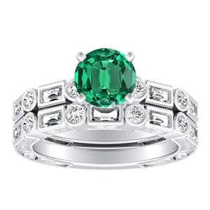 KEIRA  Vintage  Green  Emerald  Wedding  Ring  Set  In  14K  White  Gold  With  0.50  Carat  Round  Stone