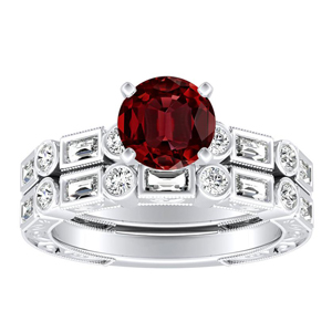 KEIRA Vintage Ruby Wedding Ring Set In 14K White Gold With 0.50 Carat Round Stone