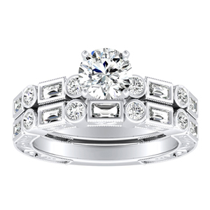 KEIRA Vintage Diamond Wedding Ring Set In 14K White Gold With 0.50ct. Round Diamond