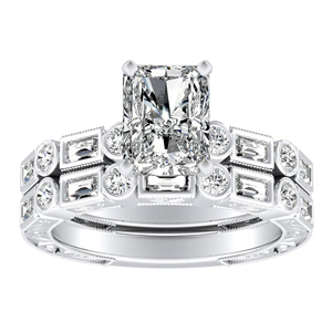 KEIRA Vintage Diamond Wedding Ring Set In 14K White Gold