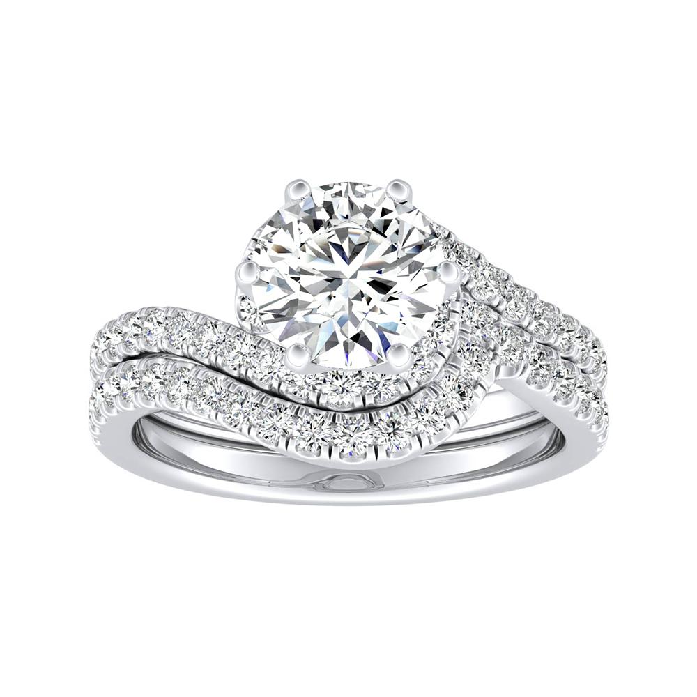 CORAL Modern Diamond Wedding Ring Set In 14K White Gold
