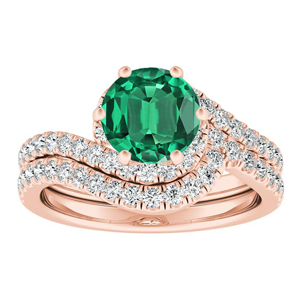 CORAL  Modern  Green  Emerald  Wedding  Ring  Set  In  14K  Rose  Gold  With  0.50  Carat  Round  Stone