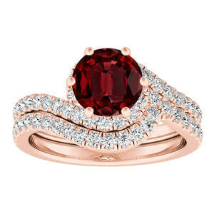 CORAL  Modern  Ruby  Wedding  Ring  Set  In  14K  Rose  Gold  With  0.50  Carat  Round  Stone