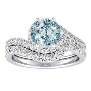 CORAL  Modern  Aquamarine  Wedding  Ring  Set  In  14K  White  Gold  With  1.00  Carat  Round  Stone