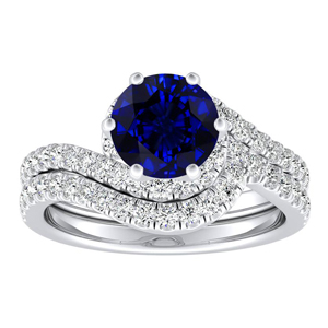 CORAL  Modern  Blue  Sapphire  Wedding  Ring  Set  In  14K  White  Gold  With  0.50  Carat  Round  Stone
