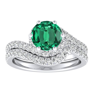 CORAL Modern Green Emerald Wedding Ring Set In 14K White Gold With 0.50 Carat Round Stone
