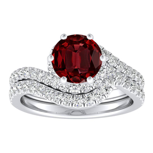 CORAL Modern Ruby Wedding Ring Set In 14K White Gold With 0.50 Carat Round Stone