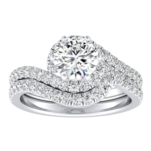 CORAL  Modern  Moissanite  Wedding  Ring  Set  In  14K  White  Gold  With  0.50  Carat  Round  Stone