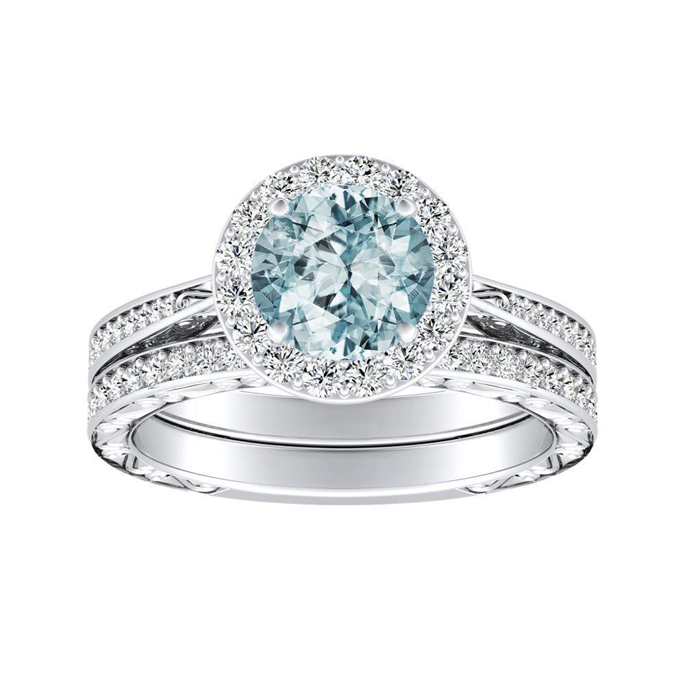 NORA Halo Aquamarine Wedding Ring Set In 14K White Gold With 1.00 Carat Round Stone