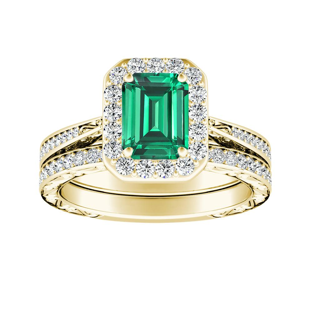Emerald Wedding Band.Nora Halo Green Emerald Wedding Ring Set In 14k Yellow Gold With 0 30 Carat Emerald Stone