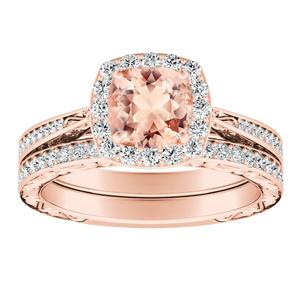 NORA Halo Morganite Wedding Ring Set In 14K Rose Gold With 1.00 Carat Cushion Stone