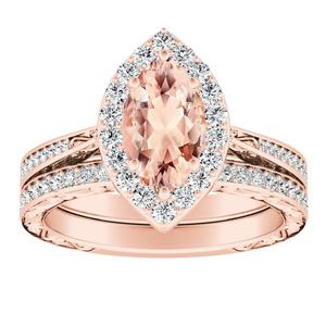 NORA Halo Morganite Wedding Ring Set In 14K Rose Gold With 1.00 Carat Marquise Stone