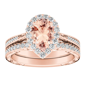NORA Halo Morganite Wedding Ring Set In 14K Rose Gold With 1.00 Carat Pear Stone