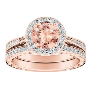 NORA Halo Morganite Wedding Ring Set In 14K Rose Gold With 1.00 Carat Round Stone