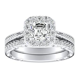NORA Halo Diamond Wedding Ring Set In 14K White Gold
