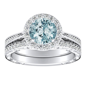 NORA Halo Aquamarine Wedding Ring Set In 14K White Gold With 1.00 Carat Round Stone