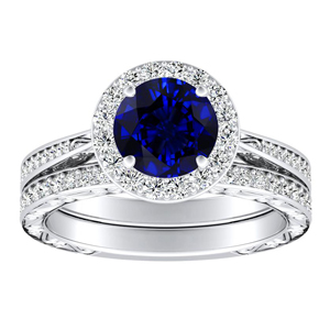 NORA  Halo  Blue  Sapphire  Wedding  Ring  Set  In  14K  White  Gold  With  0.50  Carat  Round  Stone