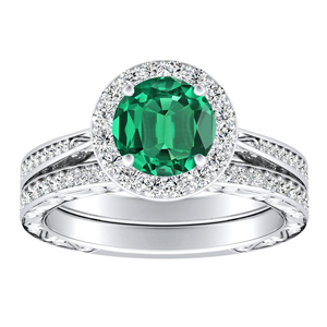 NORA  Halo  Green  Emerald  Wedding  Ring  Set  In  14K  White  Gold  With  0.50  Carat  Round  Stone