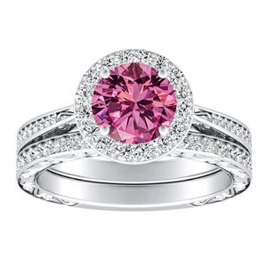 NORA  Halo  Pink  Sapphire  Wedding  Ring  Set  In  14K  White  Gold  With  0.50  Carat  Round  Stone