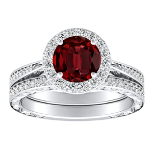 NORA  Halo  Ruby  Wedding  Ring  Set  In  14K  White  Gold  With  0.50  Carat  Round  Stone