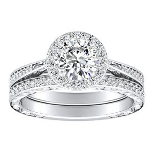 NORA Halo Diamond Wedding Ring Set In 14K White Gold With 0.50ct. Round Diamond