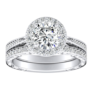 NORA Halo Diamond Wedding Ring Set In 14K White Gold